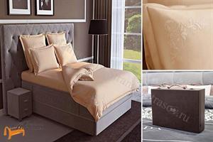 Verda -  Комплект постельного белья Verda персиковый сатин (простынь на резинке на высоту евро-топа до 10см)