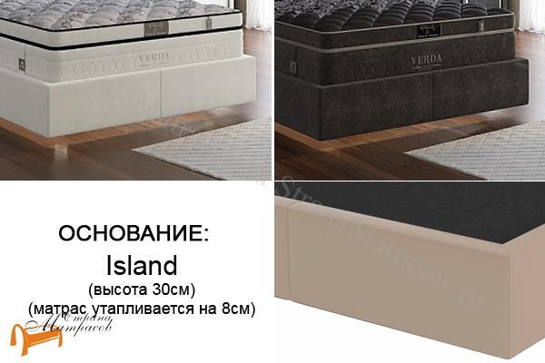 Verda Кровать Island M , с углублением под матрас, ткань велсофт, экокожа, сплошное основание, королевский дизайн